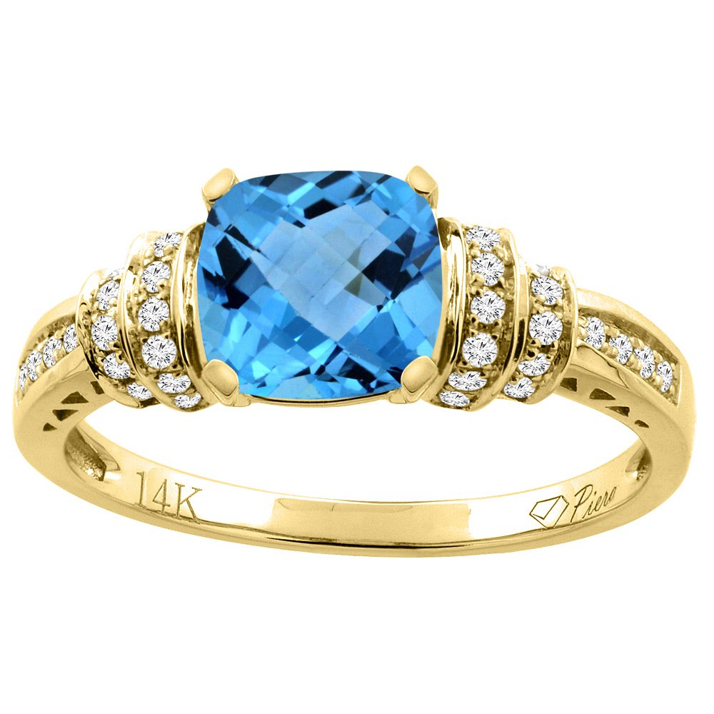14K Yellow Gold Natural Swiss Blue Topaz Ring Cushion Cut 7x7 mm Diamond Accents, size 7.5