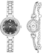 Bangle Watches for Women,Hamkaw Watch Bracelet Set Charming Sparkling Crystal Cuff Jewelry Quartz Chain Watch Mother's Day Valentine Hers Lover Girls Ladies
