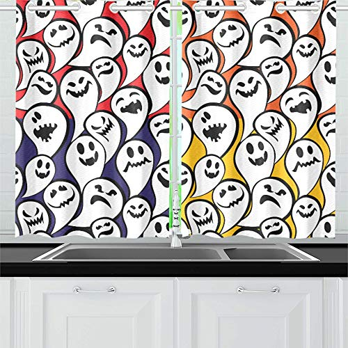 YUMOING Happy Halloween Card with Funny Ghost Kitchen Curtains Window Curtain Tiers for Café, Bath, Laundry, Living Room Bedroom 26 X 39 Inch 2 Pieces ()