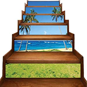 Staircase Stickers Coconut Palm Trees and Lawn on The Sandy Poipu Beach in Hawaii Kauai Staircase Steps Stickers Decor for Backsplash and Stair Riser Staircase, W39.3 x H7 inch