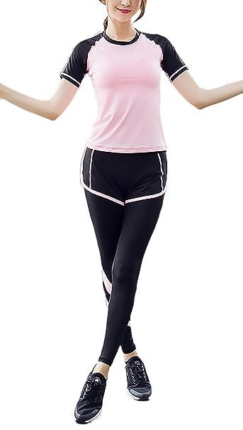 Adelina Ropa Deportiva Mujer Fitness 3 Piezas Conjunto Verano Casual Yoga Joggers Fitness De Secado Rápido Transpirable Chandal Camisetas + Sujetador ...