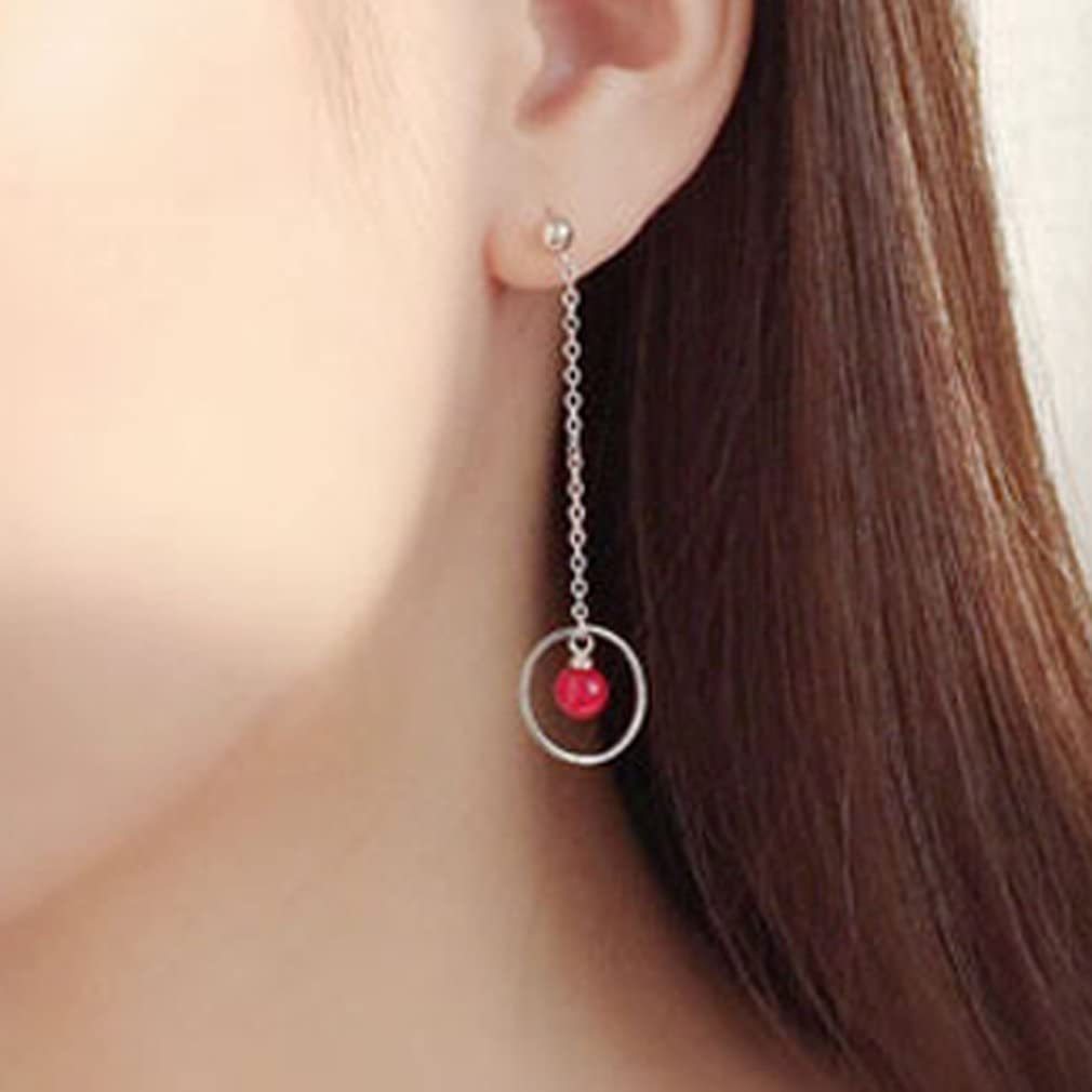 YAZILIND Asymmetric Long Link Hollow Circle Red Ormosia Pendant Drop Dangle Pierced Earrings