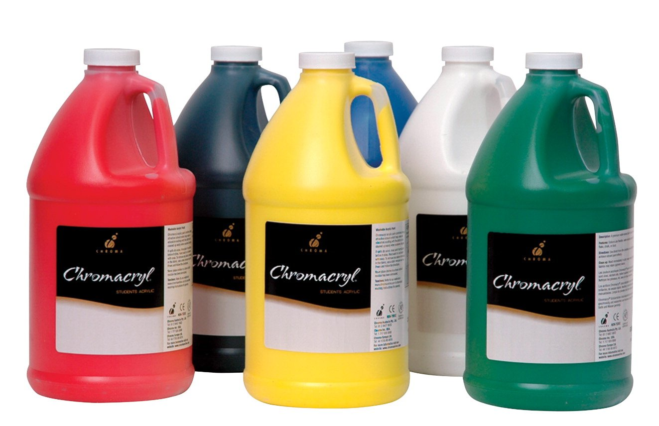 Chroma Chromacryl Premium Acrylic Paint - 1/2 Gallon - Set of 6 - Assorted Colors by Chroma