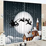 Cheap LB Christmas Decorations Blackout Curtains for Kids Room,Classic Christmas Eve Scene 3D Effect Print Window Treatment Living Room Bedroom Scenery Window Drapes 2 Panels Set,80W x 84 Inches