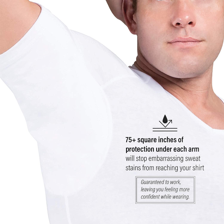 Almohadillas para el Sudor Camiseta Interior de Hombre a Prueba de Sudor Eji Cuello de Pico Micromodal Plata antiolor