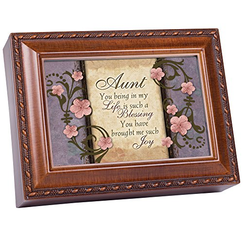 Cottage Garden Aunt You Have Brought Much Joy Woodgrain Rope Trim Jewelry Music Box Plays Wind Beneath My Wings