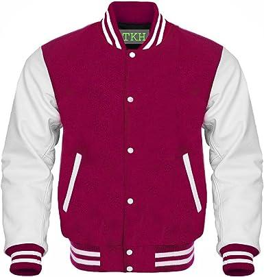 New Letterman Baseball Varsity Jacket Navy Blue Wool With White Leather Sleeves