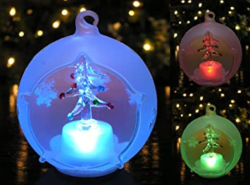 amazoncom banberry designs christmas globe ornament led lighted glass ball christmas tree decoration hand painted glittery snowflakes home kitchen