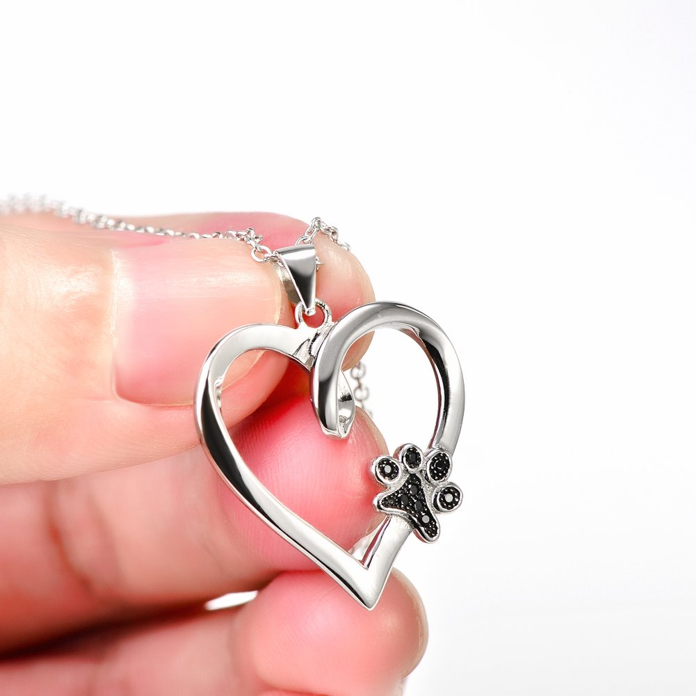 925 Sterling Silver Forever Love Heart Puppy Paw Pendant Necklace, Rolo Chain 18'' by SILVER MOUNTAIN (Image #4)