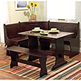 Corner Kitchen Table with Bench Target Marketing Systems 3 Piece Breakfast Nook Dining Set with a L-Shaped Storage Bench and a Trestle Style Dining Table and Bench, Espresso