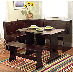 Target Marketing Systems 3 Piece Breakfast Nook Dining Set with a L-Shaped Storage Bench and a Trestle Style Dining Table and Bench, Espresso