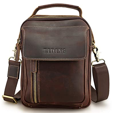c1a7556836 Amazon.com  Tiding Vintage Handmade Cowhide Leather Crossbody Bag Ipad Bag  Small Travel Messenger Bag for Men - with Detachable Strap  Shoes