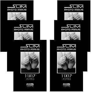 Studio 500 11 by 17-inch, The Original Slim Photo Frame, Tempered Glass, Black, 6-Pack