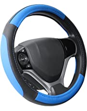 """SEG Direct Black and Blue Microfiber Leather Steering Wheel Cover for Prius Civic 14"""" - 14.25"""""""
