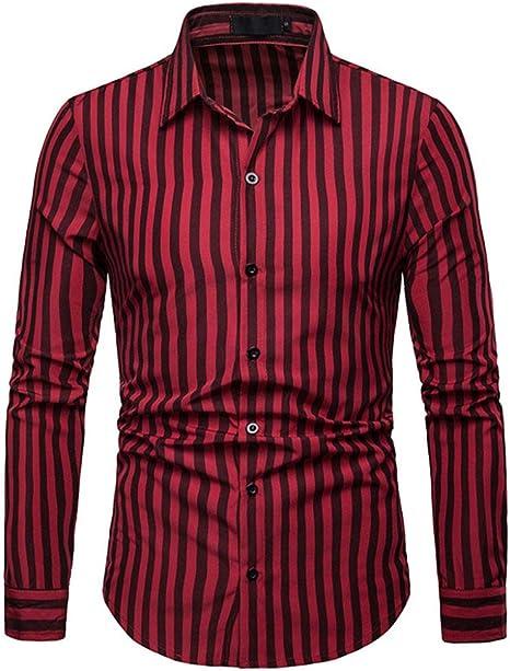 YFSLC-Studio Camisa De Manga Larga Hombre,El Hombre Rojo Slim Fit De Manga Larga De