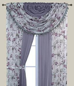 Bedding Haus Floral Sheer Complete Curtain Set (Panels and Valances) Pocket Rod Light Diffusing Sheer Curtain Set (84