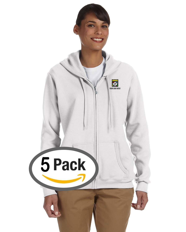 Queensboro Shirt Company Custom Embroidered Gildan Ladies' Full Zip Sweatshirt – Pack Of 5