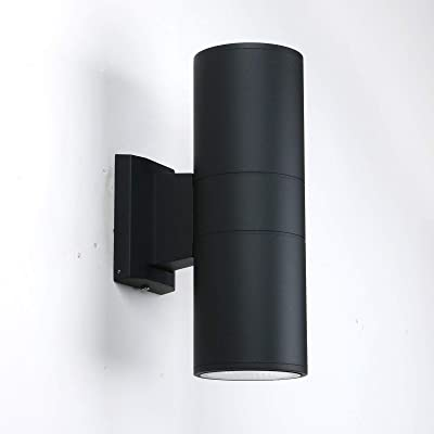 Modern LED IP65 Waterproof Outdoor Exterior Street Wall Light, Yosoan 10W Matt Black Stainless Steel Finished Weather Resistant Coasting Up Down Indoor (Warm White)