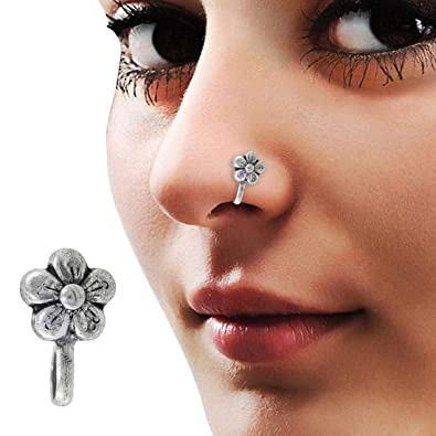 Buy PCM Flower Style Oxidised Silver Nose Pin for Women Online at Low  Prices in India  3e907981c
