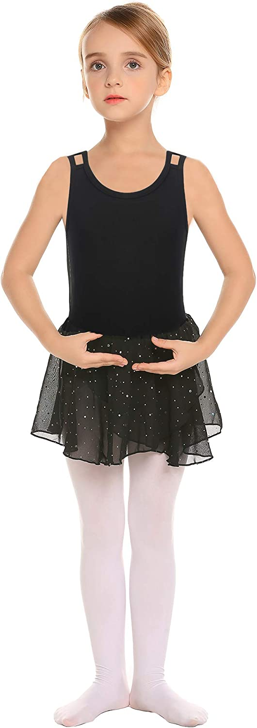 Zaclotre Little Girls Hollow Back Ballet Leotard with Skirt Dance Dresses