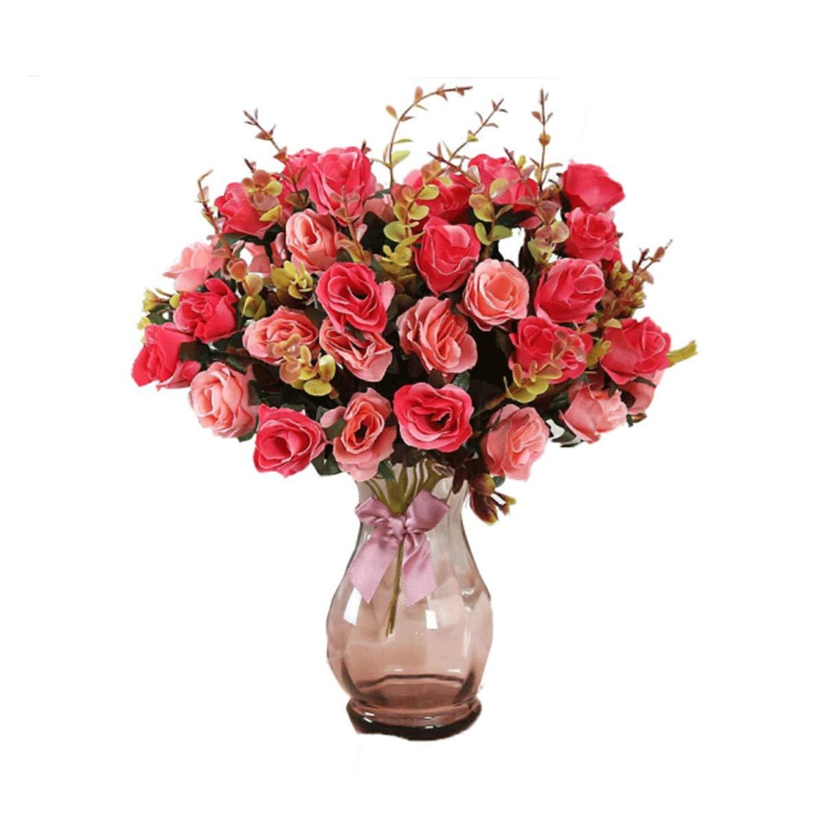 造花セット(花瓶付き)、偽花シミュレーションドライフラワーブーケ鉢植え-リビングルームテーブルコーヒーテーブルに使える花のフラワーデコレーション各種 (Color : Flower+vase H) B07SMYXKFL Flower+vase H