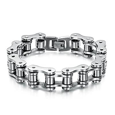 Polytree Mens Bike Bracelet Stainless Steel Chain Bracelet Bangle Link Chain Jewelry: Clothing