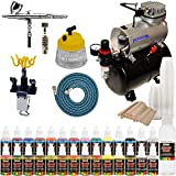 Iwata High Performance Plus HP-C Plus Airbrush Kit with Master Air Compressor TC-20T, 24 Color US Art Supply Airbrush Paint Set and a Full Set of Airbrush Accessories