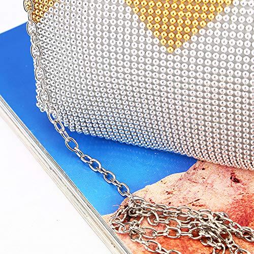 Bolso Rhinestone Del Yoome Bolsas De Bodas Plata Partido De Cristal De Tarde De Para De Monederos Malla Embrague De Mujer Del IqqwBC8