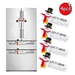 Refrigerator Handle Covers Set of 4,Christmas Snowman Protective Door Handle Covers,Microwave Oven,Dishwasher, Dust Door Handle Gloves,Protector Kitchen Appliances Gloves for Christmas Décor
