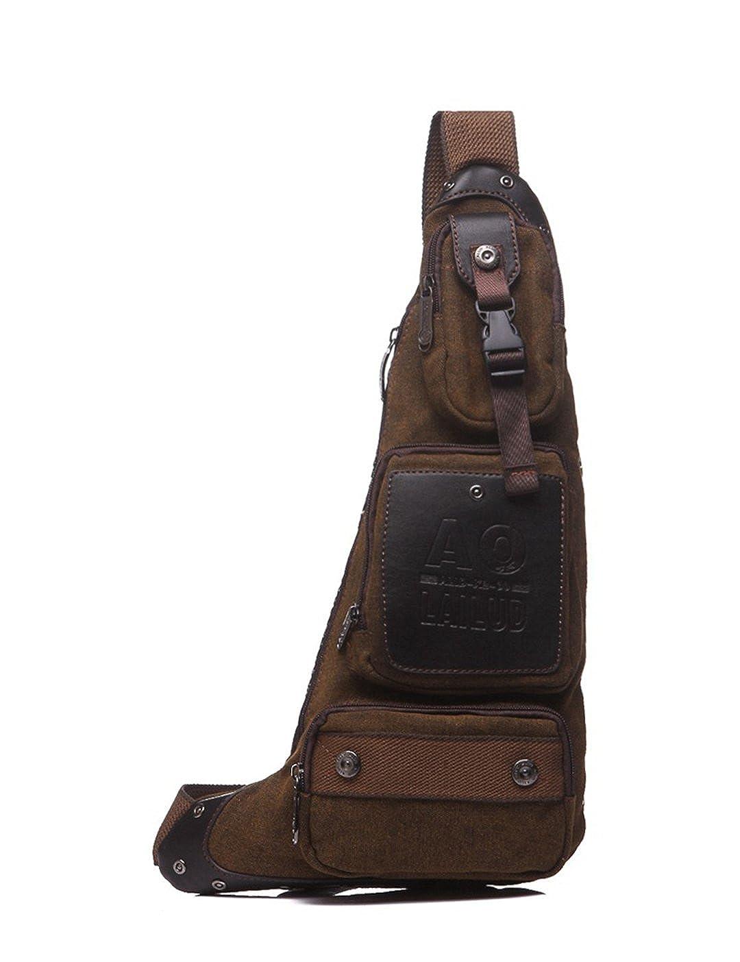 Wewod Multi-poches Hommes Petite Sac de Poitrine Epaule Sac à Bandoulière Messager Besace Sacoche D'épauleSling Bag Crossbody pour Sport Randonnée Voyage Vélos Travail - Marron JX-xiong-6