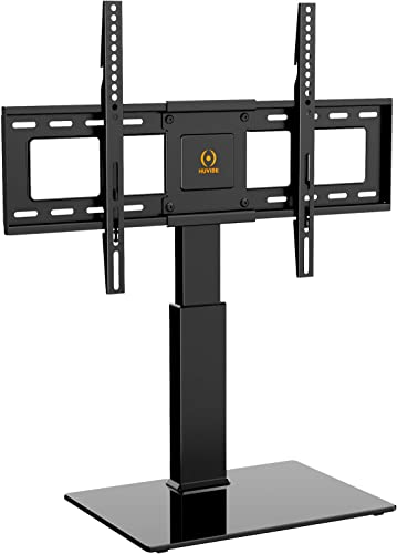 HUVIBE Universal TV Stand Base – Swivel Table top TV Stand for 32-65 inch TV Flat Screens,Tilt and 5 Level Height Adjustable TV Mount with Tempered Glass, Hold up to 88lbs Screens