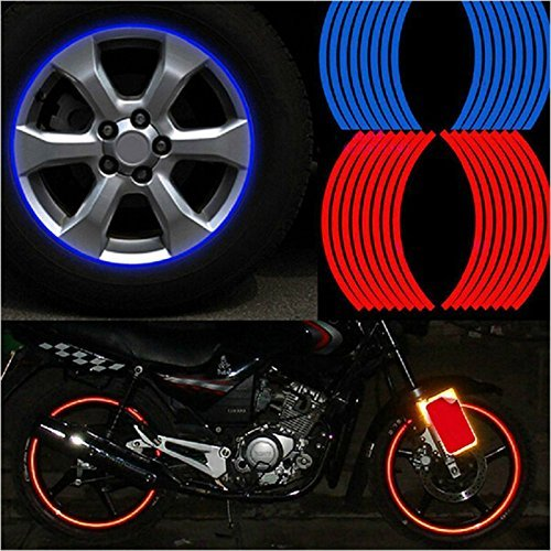 SKS Distribution® 16 Pcs Red Strips Wheel Stickers And Decals 18' Inch Reflective Rim Tape Bike Motorcycle Car Tape Car Styling SKS Distribution®