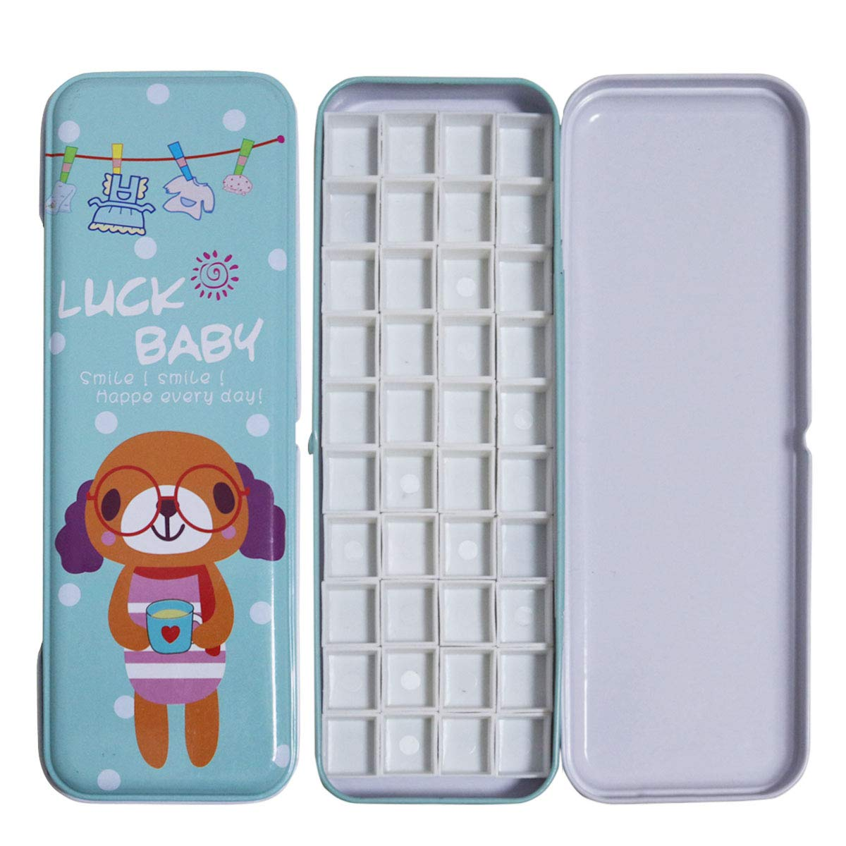 Fclub Watercolor Tins Palette Paint Case with 40Pcs Half Pans Carrying Magnetic Stripe on The Bottom