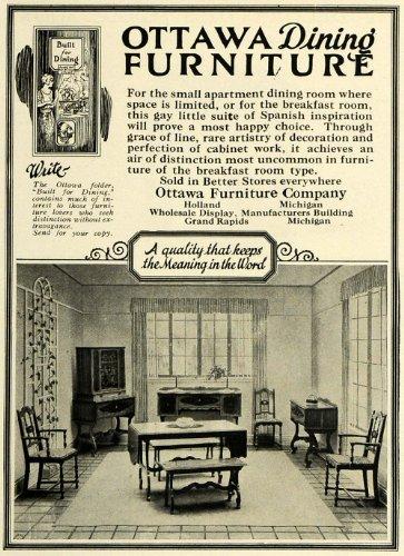 1924 Ad Ottawa Furniture Wooden Dining Table Chairs Set Decor Breakfast Room – Original Pr ...