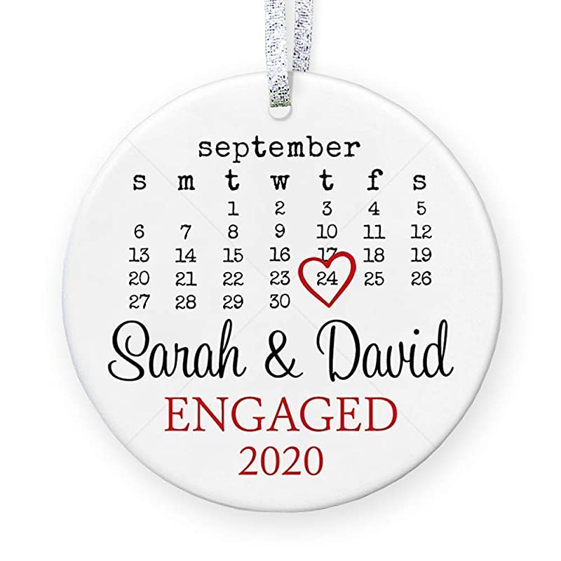 newly engaged gift couples first christmas love birds ornament for couples personalized Christmas ornament MRA-028 Engagement ornament