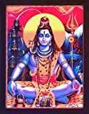 Lord Shiva Doing Meditation in Himalaya Mountains, a Hindu Religious Painting with Frame for Hindu Religious Worship Purpose