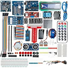 DealMux UNO Project Super Starter Kit with Tutorial,UNO R3, Power Supply Module, Servo Motor, 9V Battery with DC, Prototype Expansion Board, ect. for Arduino
