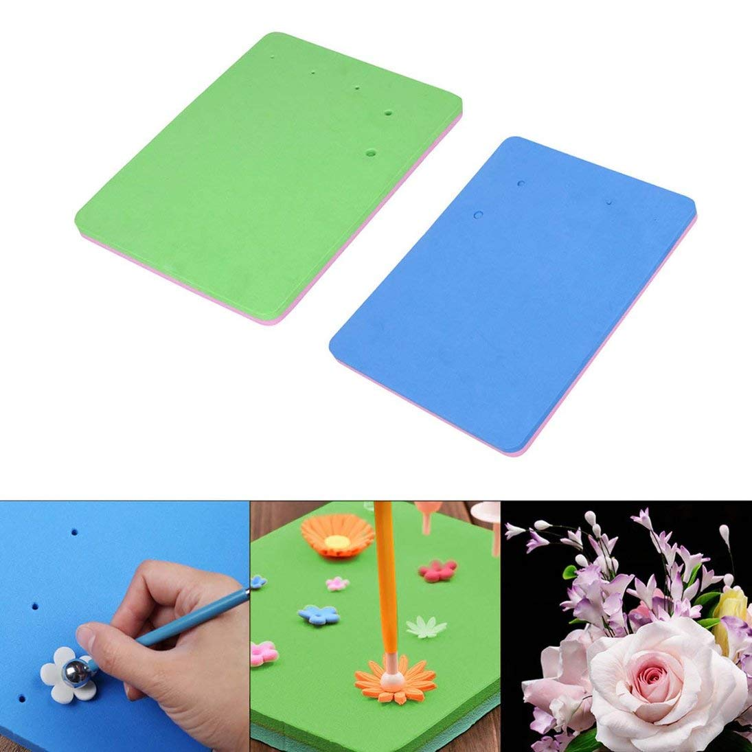 ToGames-IT Fondente Strumento Colore Cinque Fori Quadrato Fondente Fiore stampaggio Pad Spugna Pad modellatura Pad Cinque buche asciugare Fiore Mat Colore Casuale