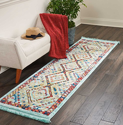Aqua Chic Collection Rug (Nourison TRL02 Tribal Décor Traditional Colorful Area Rug, 2'2