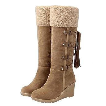 Botas Altas Mujer JiaMeng Invierno Muslo Alto Botines La Rodilla Boots Después de lijar con borlas Botas Altas Botas con cuñas Botas de Nieve: Amazon.es: ...