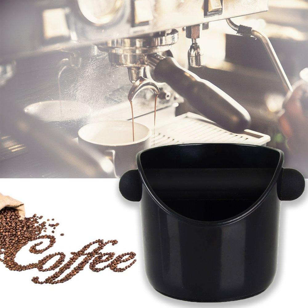 Coffee Knock Box, Large capacity Barista Knock Box Coffee Grind Knock Box for Espresso Grind Waste Bin (Black) by Spirit