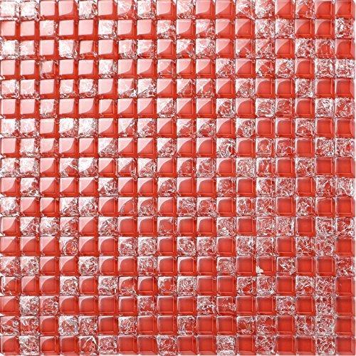 30x30cm Red Crackled & Plain Glass Mosaic Tiles Sheet (MT0084) by Grand Taps (Plain Glass Mosaic)