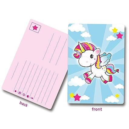 8 Invitaciones De Cumpleaños Unicornio Aprox 10 X 14 Cm