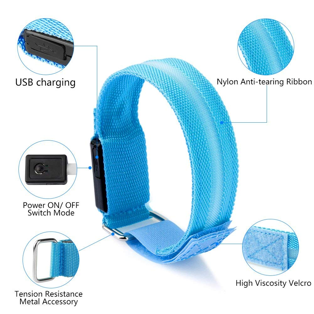 2x LED Safety Bands-Glow Bracelet Safety Wristband Ankle Reflective Strips Bright High Visibility Armband for Running,Jogging,Cycling,Biking,Walking Outdoor Sports,USB Charged