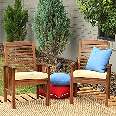 Walker Edison Furniture Company AZWC2DB 2 Piece Outdoor Patio Ladder Back Wood Chair Set with Washable Cushions All Weather Backyard Conversation Garden Poolside Balcony, Set of 2, Dark Brown - Naturally durable, weather and pest resistant Beautiful wood grain finish and shine Exposure to extreme temperatures not recommended - patio-furniture, patio-chairs, patio - 61Ru0XWY1kL. SS400  -