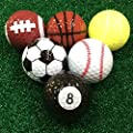 MarketBoss 6 PCS Golf Balls (Basketball, Football, Volleyball,Tennis, Baseball, 8-Ball) Double-layer Construction 75% Strong Resilience Force Sports Practice Novelty Balls Golf Balls Gift