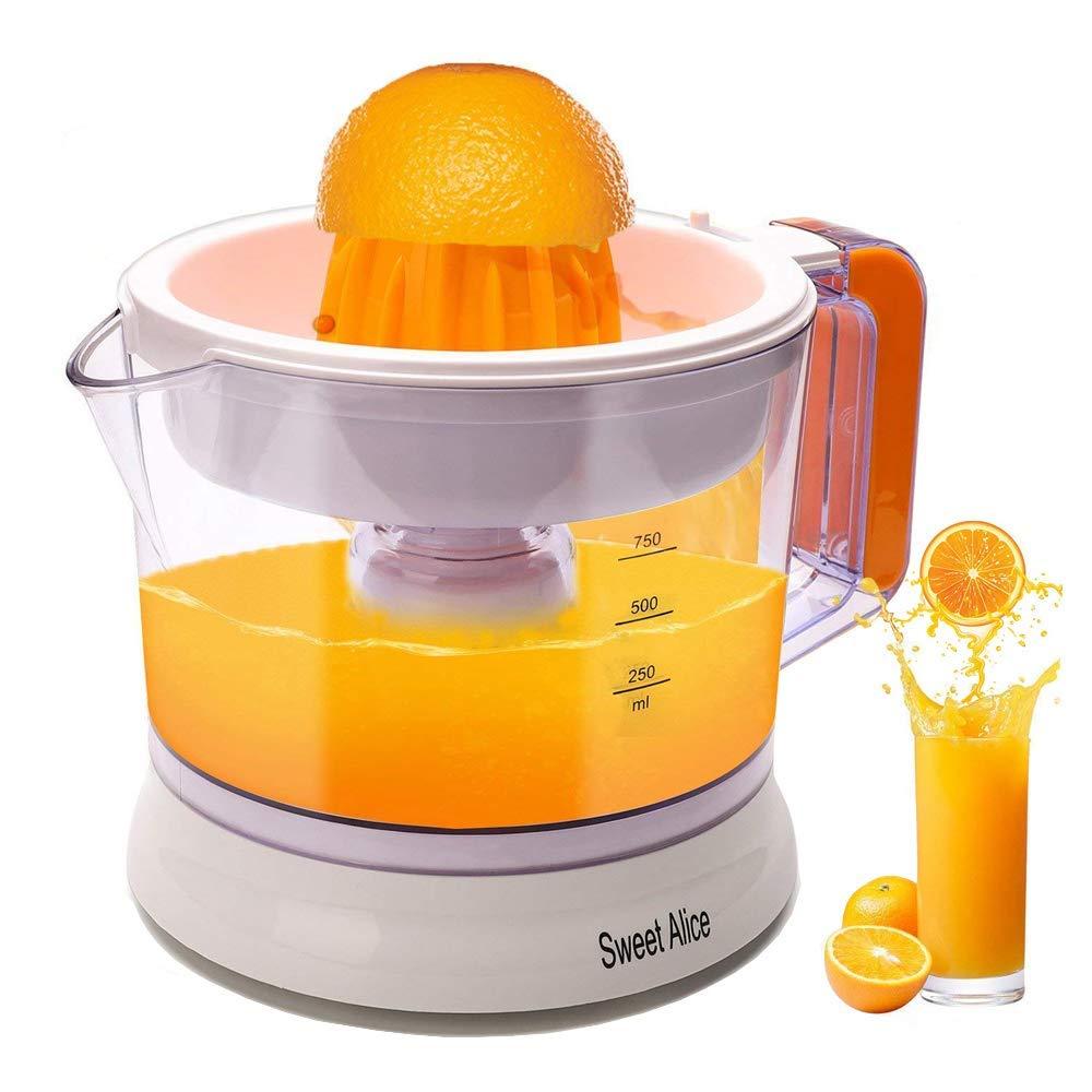 Citrus Juicer Auto Reverse Pulp Control Orange Juicer Lemon Grapefruit Lime Anti-Drip Electric Mechanism BPA-free (25W,0.75L)