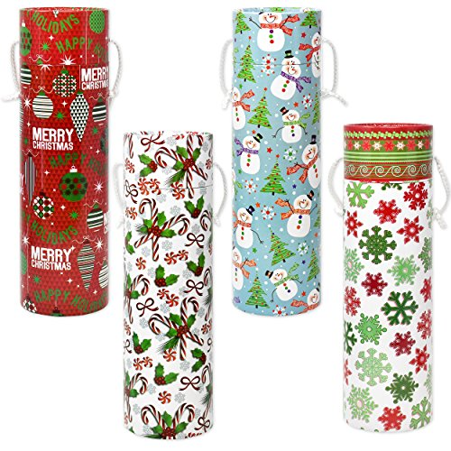 Christmas Wine Boxes Bottle Bag Holder With Cover And Handle, Pack Of 4 Designs Holiday Party Decor Accessories By Gift Boutique (Gift Boxes For Wine Bottles)