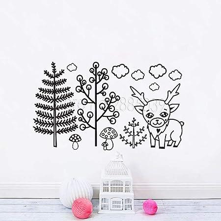 Mignon Petit Cerf Et Arbre Stickers Muraux Pour Chambre D