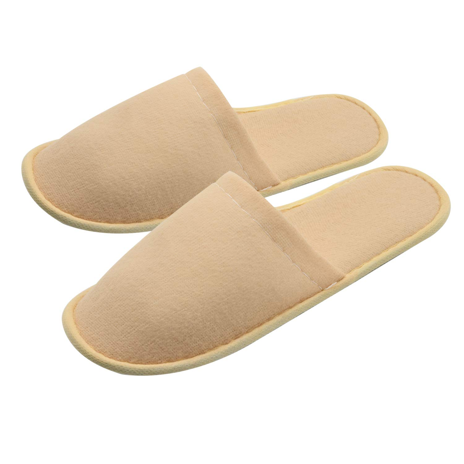 AILELAN Spa Slippers, 20 Pairs Cotton Velvet Closed Toe Disposable Slippers Fit Size for Men and Women for Hotel Home Guest Used, White Non-Slip Slippers by AILELAN